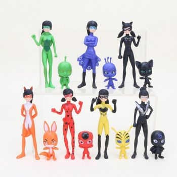 Kit 14 Bonecos Personagens Ladybug Miraculous Catnoir