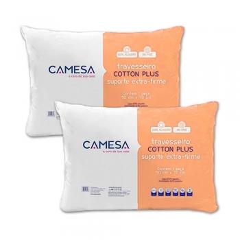 Kit 2 Travesseiros Cotton Plus Suporte Extra Firme 50 X 70cm