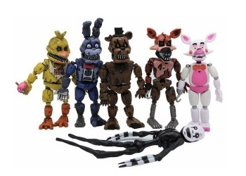 Kit 6 Bonecos Five Nights At Freddy´s Articulados + Bolsa