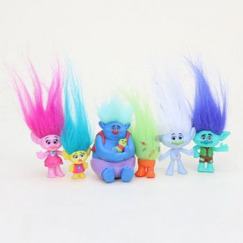 Kit Bonecos Action Figure Trolls 6 Bonecos Poppy Tronco Guy