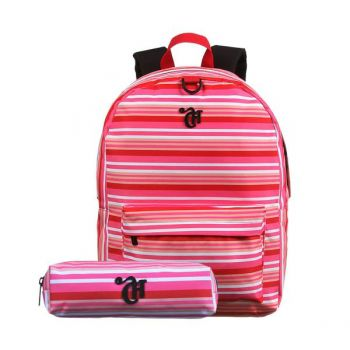 Kit Mochila Escolar Capricho De Costa Stripes Dmw + Nécessair