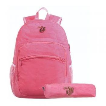 Kit Mochila + Necessair Capricho Crinkle Pink Universitária
