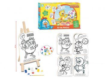 Kit Pintura Galinha Pintadinha Infantil Cavalete+ Tintas Nig