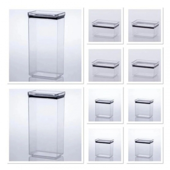 Kit Pote Hermetic Retangular - 10 Pçs - Paramount Plásticos