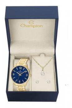 Kit Relógio Champion Dourado Feminino CN26206K + Brincos e Colar