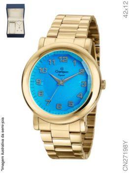 Kit Relógio Champion Feminino Analógico Visor Azul CN27198Y + Semijoia