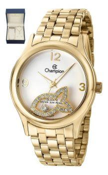 Kit Relógio Champion Feminino Cn28482w Dourado Semijóia