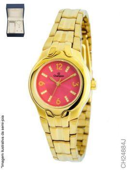 Kit Relógio Champion Feminino Dourado CH24884J Rosa