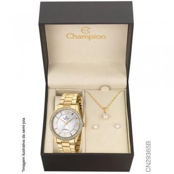 Kit Relógio Champion Feminino Dourado + Conjunto De Semi Joias Cn29365b