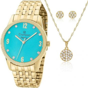 Kit Relógio Champion Feminino Dourado Grande Brinco Cn26082y