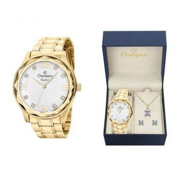 Kit Relógio Champion Feminino Dourado Social Cn27465w + SemiJoias