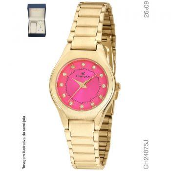 Kit Relógio Champion Feminino Social CH24875J Dourado Fundo Rosa