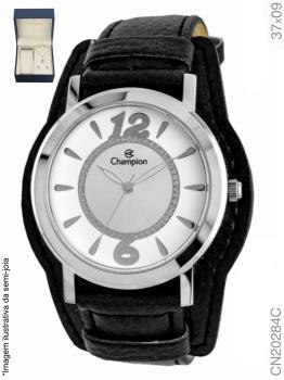 Kit Relógio Champion Prata Feminino Couro Cn20284c