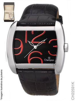Kit Relógio Champion Quadrado CH22591K Pulseira Couro + Pulseira