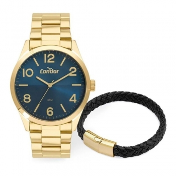 Kit Relógio Condor Masculino Dourado Ouro + Brinde Copc21aedw/k4a