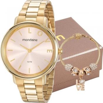 Kit Relógio Feminino Mondaine Com Pulseira 53761lpmkde1k1 Original + Garantia