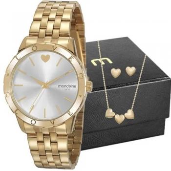 Kit Relógio Feminino Mondaine Com Semi Joias 32141lpmkde1k1