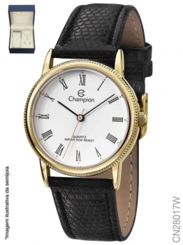 Kit Relógio Feminino Pulseira Couro CN28017W Dourado Champion