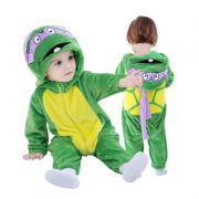 Macacão Pijama Infantil Criança Pelúcia Tartarugas Ninja