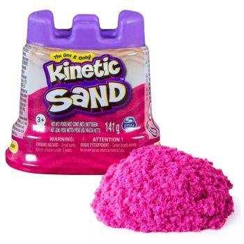 Massa Areia Rosa Neon 141g Com Molde De Castelo Kinetic Sand