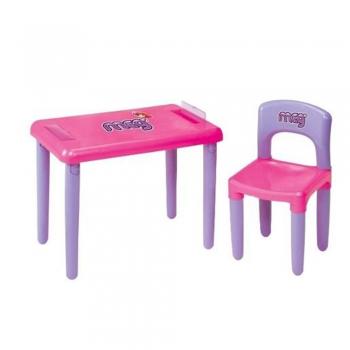 Mesa Mesinha Infantil Com Cadeira Rosa Meg - Magic Toys
