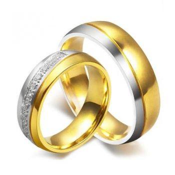 Par Aliança De Tungstenio Banhada A Ouro Com Zircônia