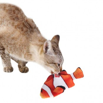 Mordedor Peixe Nemo de pelúcia e algodão brinquedo para Gato