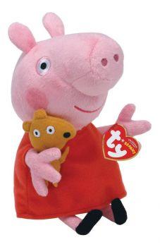 Peppa Pig Pelúcia 30cm - Peppa Com Ursinho - GRANDE TY Dtc