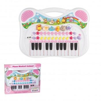 Piano Teclado Musical Animal Fazendinha - Azul Rosa - Braskit