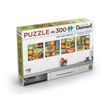 Puzzle 4 X 300 Peças Decorart Pop Art Fruits Grow