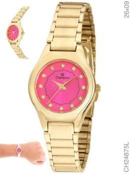 Relógio Champion CH24875L Dourado Fundo Rosa