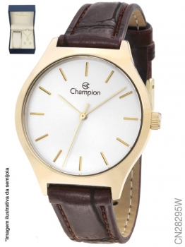 Relógio Champion Couro Dourado CN28295W Feminino