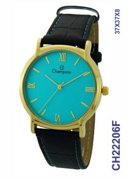 Relógio Champion Feminino CH22206F Couro Preto Dourado Azul