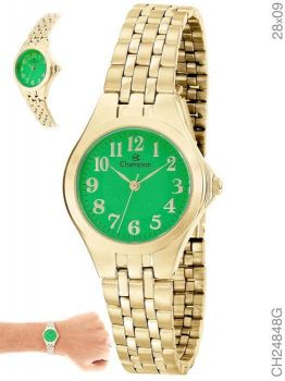 Relógio Champion Feminino CH24848G Dourado Fundo Verde