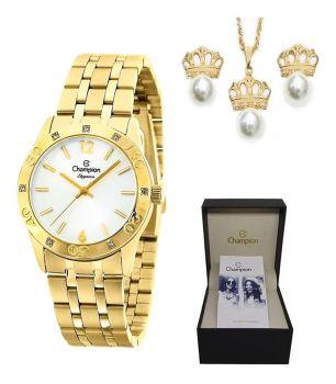 Relógio Champion Feminino Dourado Brinde Colar + Brinco Cn27349w