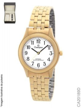 Relógio Champion Feminino Dourado Ca20189d + Pulseira