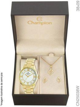 Relogio Champion Feminino Dourado Cn25038w + Kit Semi Joia