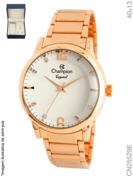 Relógio Champion Feminino Dourado Cn25529e Prova D'agua