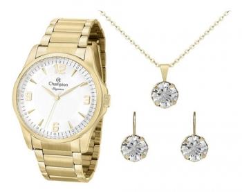 Relógio Champion Feminino Dourado Cn27778w Semi Jóia Ouro