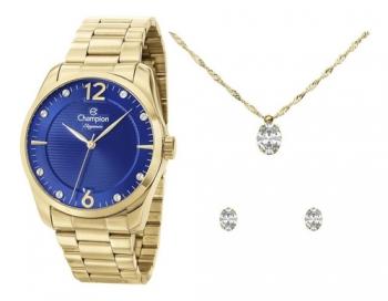 Relógio Champion Feminino Dourado Semi Jóia Ouro
