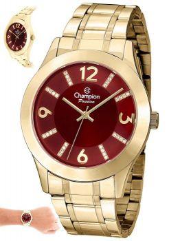 Relogio Champion Feminino Dourado Visor Vermelho - CN28713I