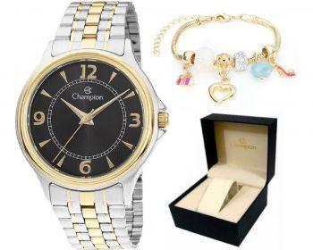 Relógio Champion Feminino Prata / Dourado + Kit