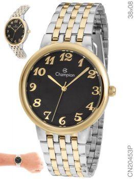 Relógio Champion Feminino Prata e Dourado Social Visor Preto CN20453P