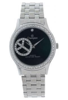 Relógio Champion Feminino Prata Visor Preto CH25785T