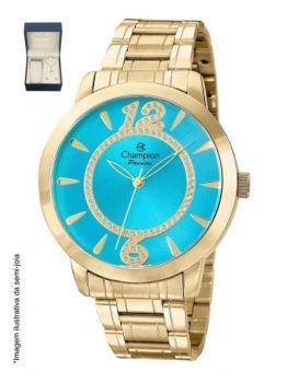 Relógio Champion Feminino Grande Dourado Fundo Azul Com Kit Ch24259y
