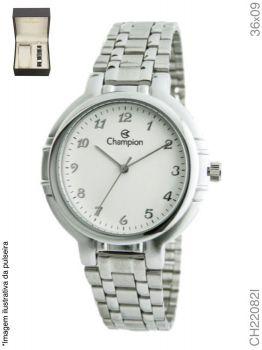 Relógio Champion Masculino CH22082I Prata + Pulseira de Courino