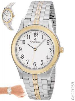 Relógio Champion Masculino Misto Ch22126b Prata E Dourado