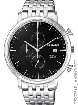 Relógio Citizen Masculino Prata Preto TZ20751T