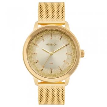 Relógio Euro Feminino Analógico Dourado Ouro Glitter Prova Dágua
