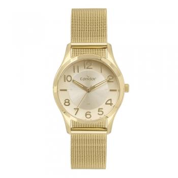 Relógio Feminino Dourado Condor Luxo Aço Inoxidável